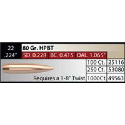"NOSLER Competition .224"" 80gr HPBT #53080"