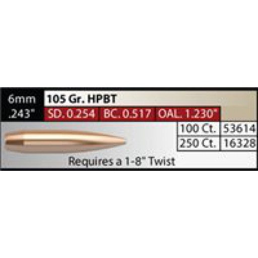 "NOSLER Competition .243"" 105gr HPBT #16328"