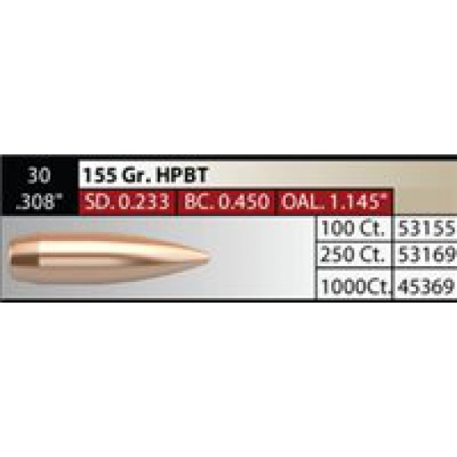 "NOSLER Competition .308"" 155gr HPBT #45369"