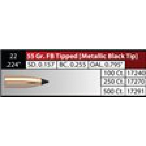"NOSLER Varmageddon .224"" 55gr FB Tipped Metallic-Black-Tip #17240"
