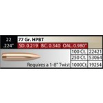 "NOSLER Competition .224"" 77gr HPBT #53064"